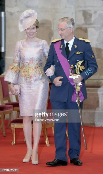 King Philippe of Belgium Queen Mathilde of Belgium attend the Te Deum mass on the occasion of the Belgian National Day in the Cathedral on July 21...