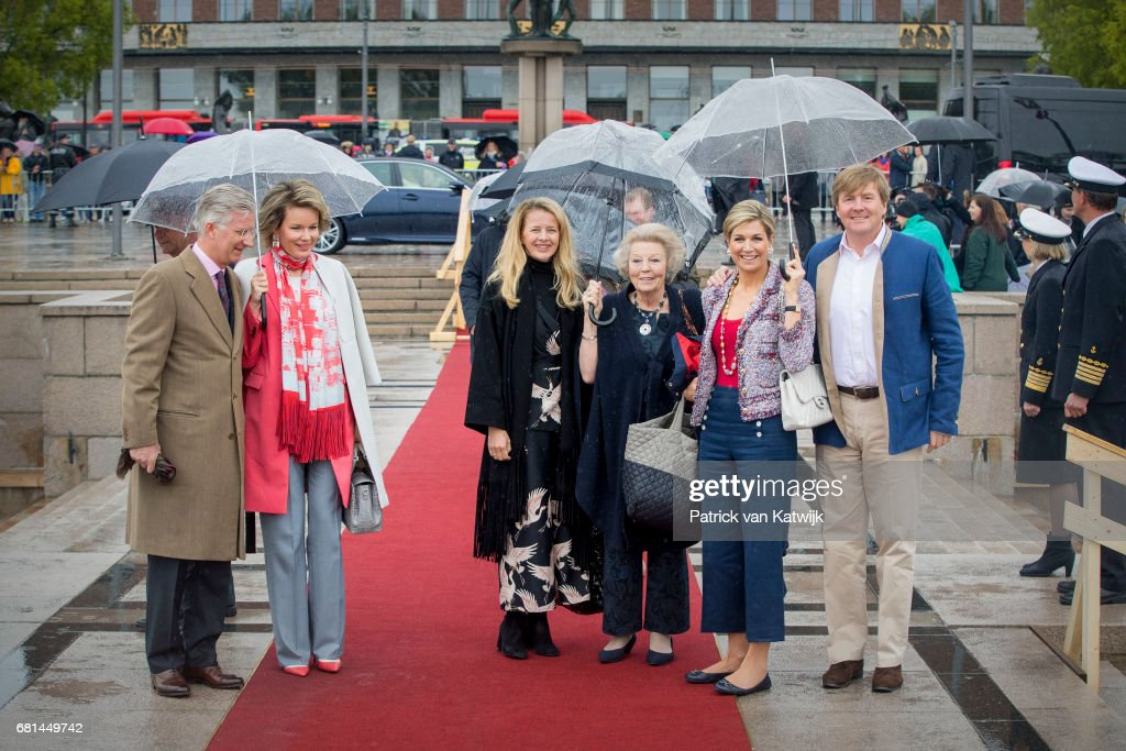 King Philippe of Belgium, Queen Mathilde of Belgium, Princess Mabel of Orange-Nassau, Princess Beatrix of the Netherlands, Queen Maxima of the Netherlands and King Willem-Alexander of the Netherlands attend a lunch on the Norwegian Royal yatch 'Norge'to celebrate the 80th birthdays of King Harald of Norway and Queen Sonja of Norway on May 10, 2017 in Oslo, Norway.