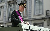 King Philippe of Belgium salutes the crowd during the parade as part of the ceremonies marking Belgium's National Day on July 21 2016 in Brussels...
