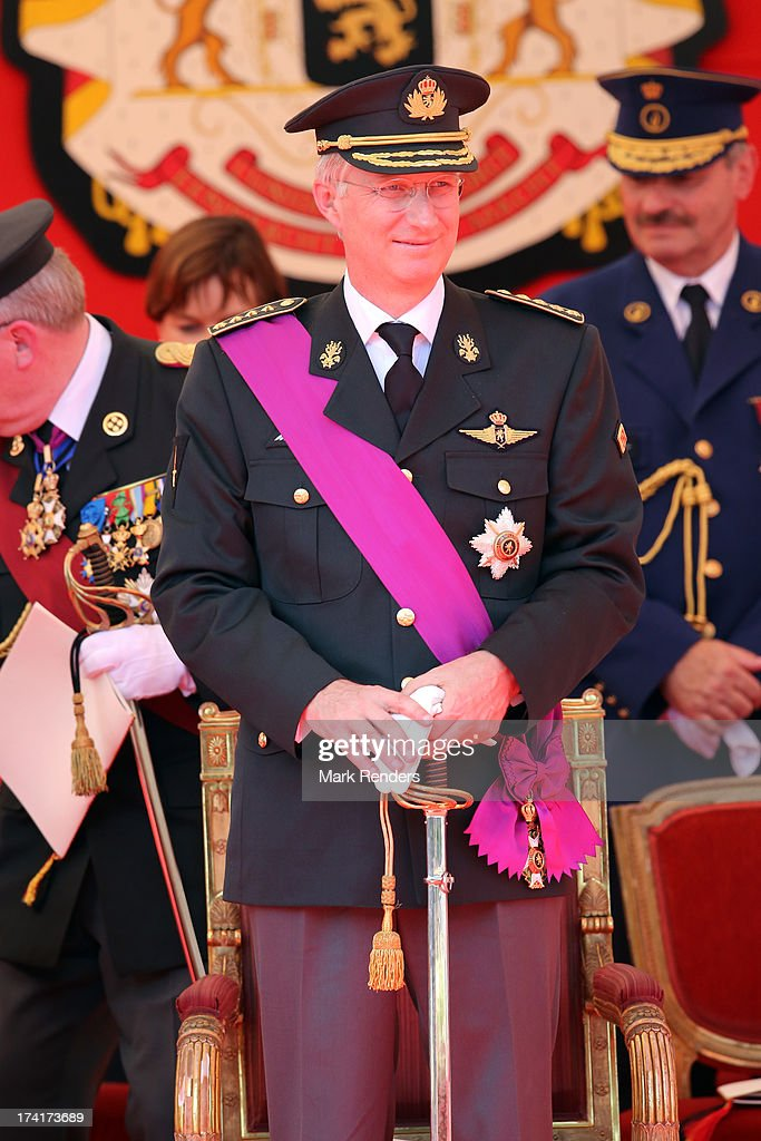 King Philippe of Belgium seen during the Civil and Military Parade during the Abdication Of King Albert II Of Belgium Inauguration Of King Philippe...