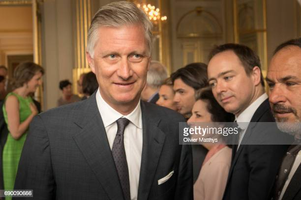 King Philippe of Belgium speaks to guests during a lunch for Queen Elisabeth Competition on May 30 2017 in Brussels Belgium