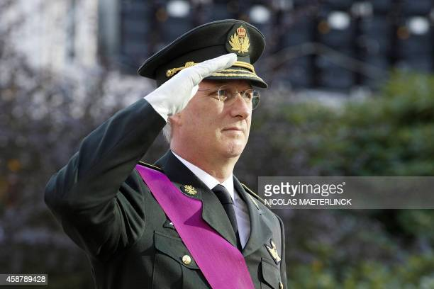King Philippe of Belgium stands during the commemoration of World War I commonly known as Remembrance Day at the tomb of the Unknown Soldier at the...