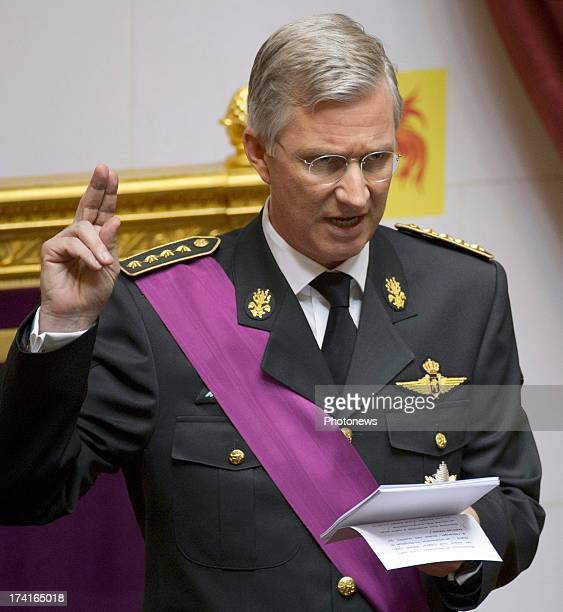 King Philippe of Belgium takes his oath during his Inauguration following the abdication of King Albert II Of Belgium at the Parliament on July 21...