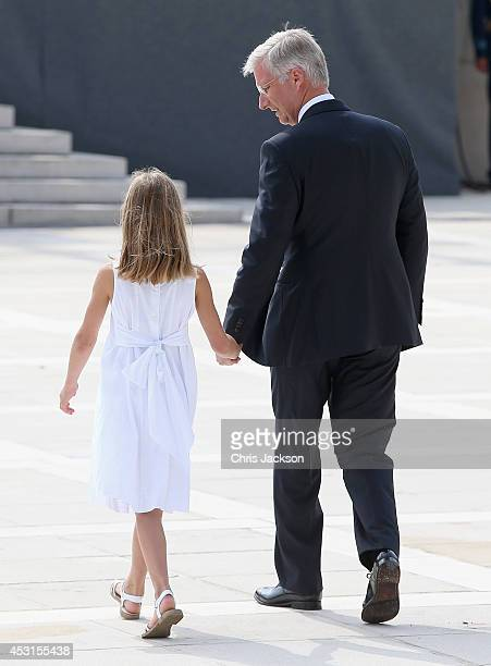 King Philippe of Belgium takes part in a WW1 100 Years Commomoration Ceremony at Le Memorial Interallie on August 4 2014 in Liege Belgium Monday 4th...