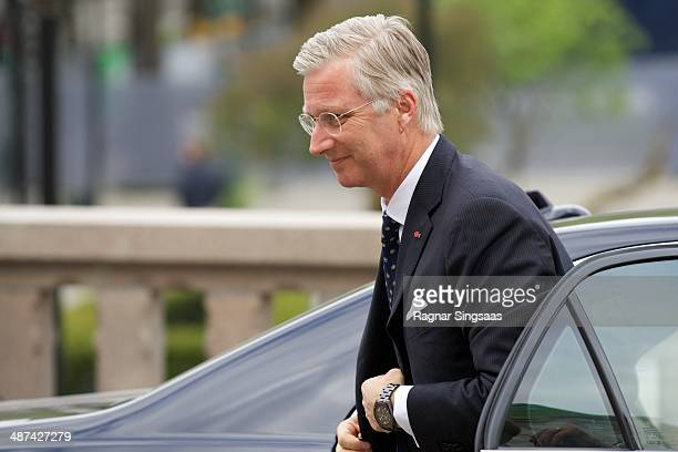 King Philippe of Belgium visits the Norwegian parliament Stortinget during an official visit on April 30 2014 in Oslo Norway