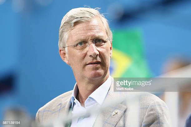 King Philippe of Belgium watches on during the halftime break of the men's pool A match between Brazil and Belgium on Day 2 of the Rio 2016 Olympic...