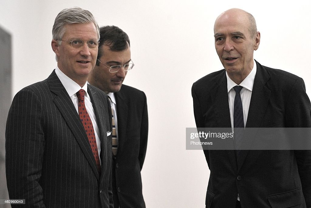 King Philippe pictured during his visit to the Contemporary Art Center 'Wiels' including the new exhibition of Belgian artist Walter Swennen on January 16, 2014 in Brussels, Belgium. King Philippe was joined by Walter Swennen to present and explain his work to the King.