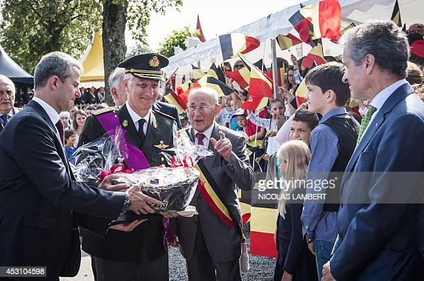 King PhilippeFilip of Belgium and Mayor of Thimister Didier D'Oultremont attend a commemorative ceremony for the 100th anniversary of WWI on August 3...