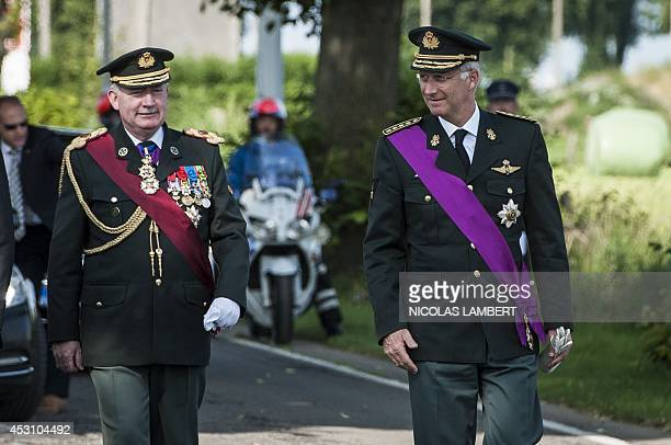 King PhilippeFilip of Belgium attends a commemorative ceremony for the 100th anniversary of WWI on August 3 2014 at the Cavalier Fonck Monument in...