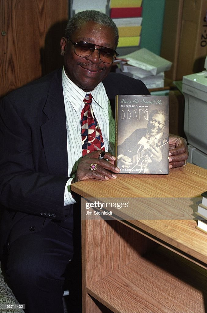 B King poses for a portrait with his autobiography Blues All Around Me at Book Soup in Los Angeles California