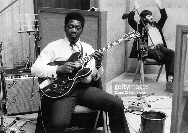 B King poses for a portrait with his Gibson electric hollowbody guitar nicknamed 'Lucille' in the studio with drummer Ringo Starr during the...