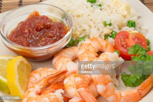 King prawn with an egg and fried rice