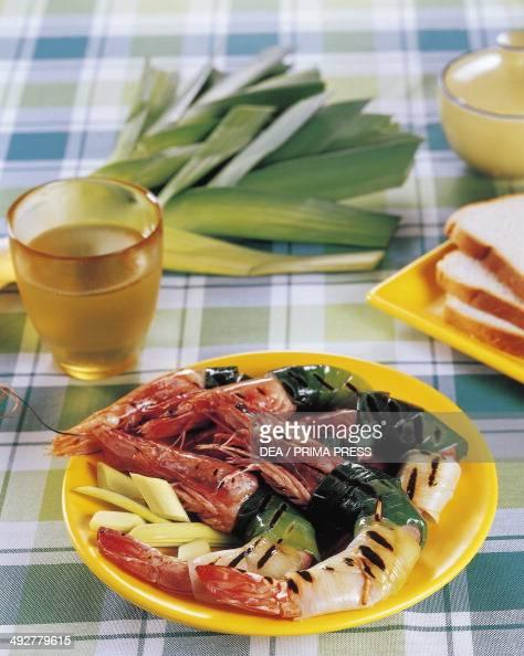 King prawns with leeks