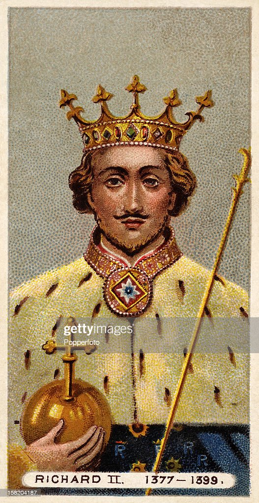 King Richard II featured on a vintage cigarette card in a series of 'British Royalty' produced circa 1902.