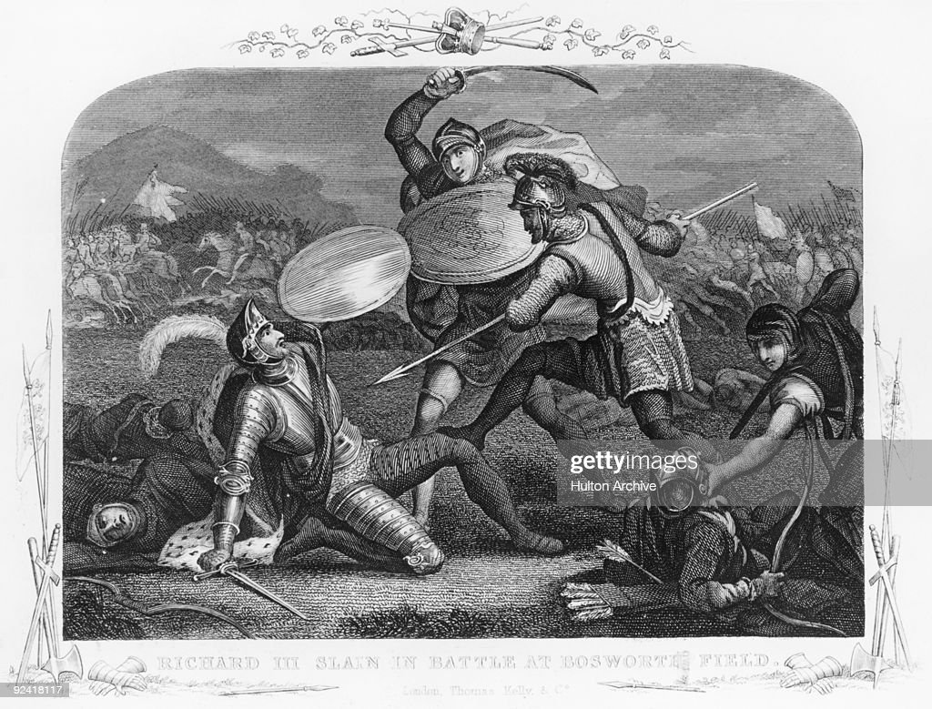 King Richard III is killed during the Battle of Bosworth Field, near Market Bosworth in Leicestershire, during the Wars of the Roses, 22nd August 1485. The English Yorkist King was replaced by Henry of Richmond who became King Henry VII.