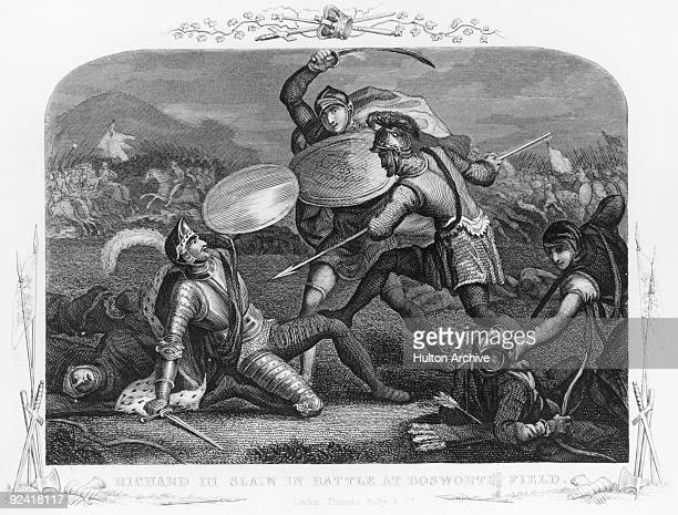 King Richard III is killed during the Battle of Bosworth Field near Market Bosworth in Leicestershire during the Wars of the Roses 22nd August 1485...