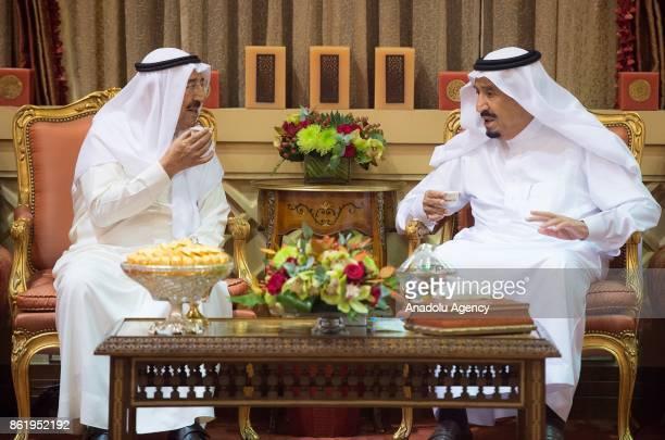 King Salman bin Abdulaziz Al Saud meets with Kuwaiti Emir Sabah AlAhmad AlJaber AlSabah at the royal palace in Riyadh Saudi Arabia on October 16 2017