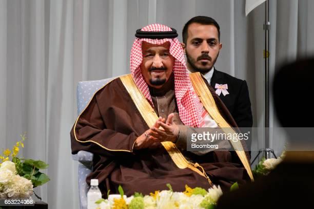 King Salman bin Abdulaziz Saudi Arabia's king applauds as he attends the Saudi ArabiaJapan Business Forum for Saudi Arabia Vision 2030 in Tokyo Japan...