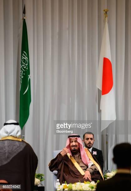 King Salman bin Abdulaziz Saudi Arabia's king center attends the Saudi ArabiaJapan Business Forum for Saudi Arabia Vision 2030 in Tokyo Japan on...