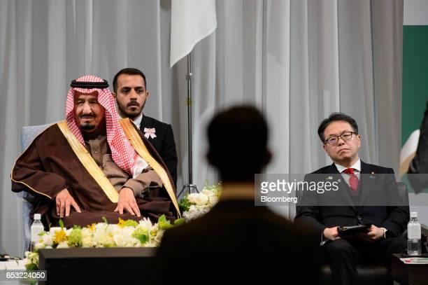 King Salman bin Abdulaziz Saudi Arabia's king left and Hiroshige Seko Japan's economy minister right attend the Saudi ArabiaJapan Business Forum for...