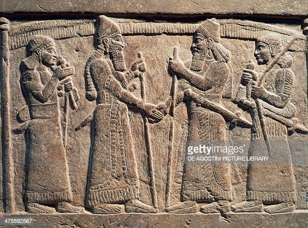 King Shalmaneser III of Assyria meeting a Babylonian detail from Shalmaneser III's throne relief on stone Assyrian civilisation 9th century BC Bagdad...