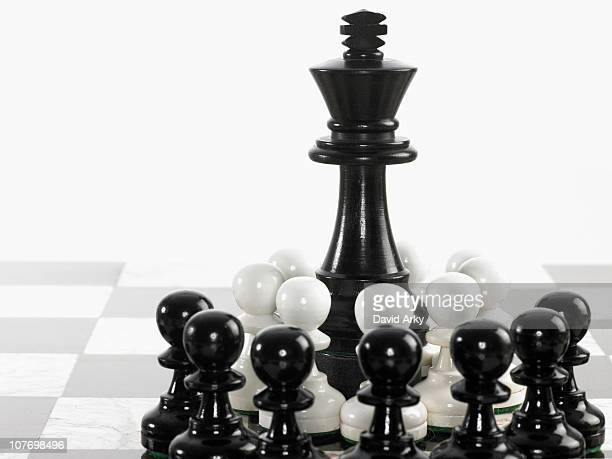 King surrounded by pawn chess pieces