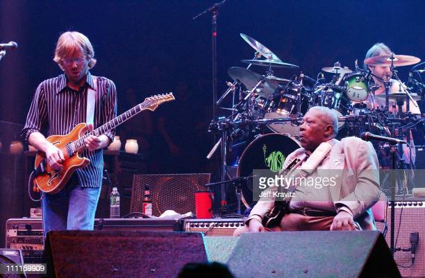 BB King Trey Anastasio Jon Fishman during Phish Live in New Jersey at Continental Airlines Arena in Secaucus New Jersey United States