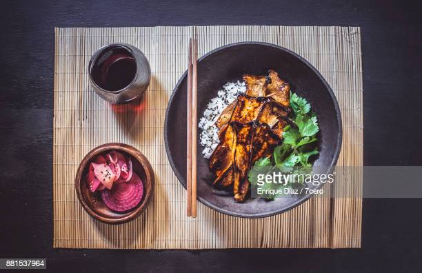BBQ King Trumpet Mushrooms with Pickled Red Onions