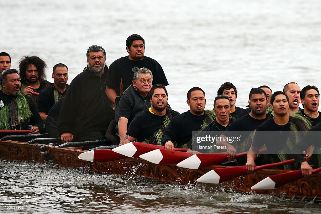 King Tuheitia travels in a waka on October 8, 2012 in Huntly, New Zealand. King Tuheitia marked the anniversary of his grandfather's coronation with a waka taua journey from Ngaaruawaahia to Waahi marae.
