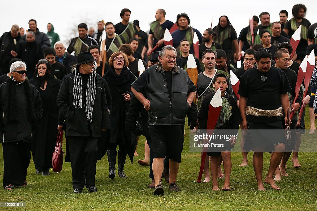 King Tuheitia walks to Waahi marae after arriving in a waka on October 8, 2012 in Huntly, New Zealand. King Tuheitia marked the anniversary of his grandfather's coronation with a waka taua journey from Ngaaruawaahia to Waahi marae.