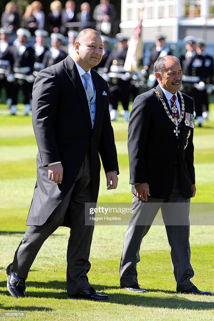 King Tupou VI and Governor-General Sir Jerry Mateparae walk together during a State Welcome at Government House on February 25, 2013 in Wellington, New Zealand. The King of Tonga, His Majesty King Tupou VI, is in New Zealand making his first official state visit.