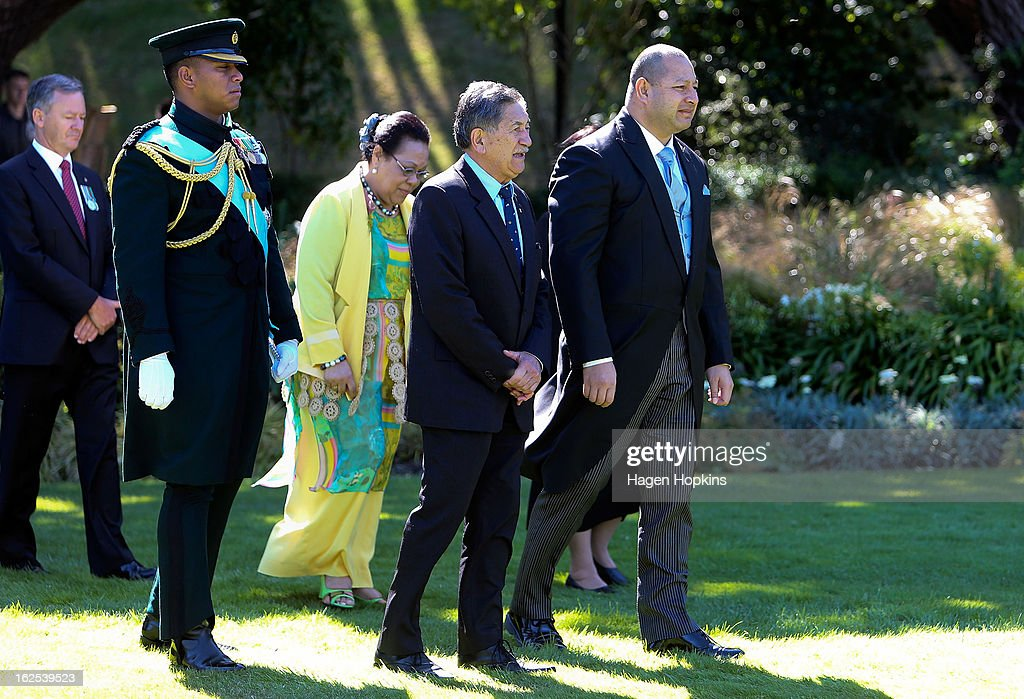 King Tupou VI and Queen Nanasipau'u are welcomed by Lewis Moeau during a State Welcome at Government House on February 25, 2013 in Wellington, New Zealand. The King of Tonga, His Majesty King Tupou VI, is in New Zealand making his first official state visit.