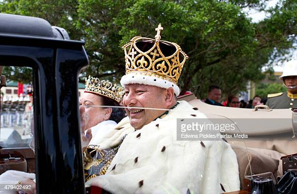 King Tupou VI and Queen Nanasipau'u proceed through the streets to the Royal Palace during the official coronation ceremony on July 4 2015 in...