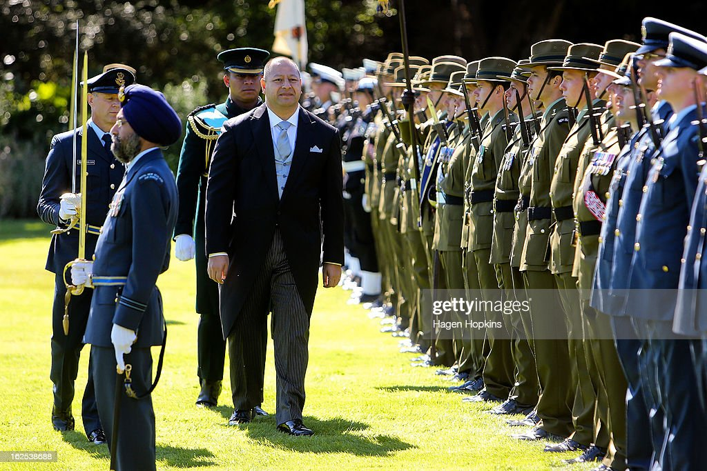 King Tupou VI inspects the guard during a State Welcome at Government House on February 25, 2013 in Wellington, New Zealand. The King of Tonga, His Majesty King Tupou VI, is in New Zealand making his first official state visit.