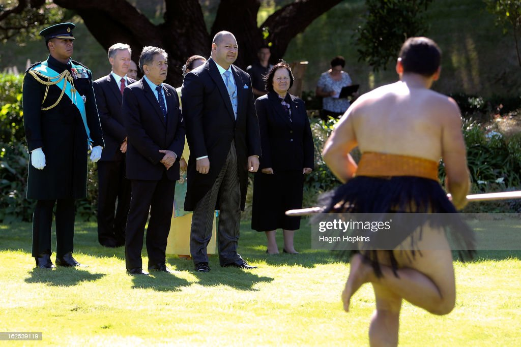 King Tupou VI is greeted with a powhiri during a State Welcome at Government House on February 25, 2013 in Wellington, New Zealand. The King of Tonga, His Majesty King Tupou VI, is in New Zealand making his first official state visit.