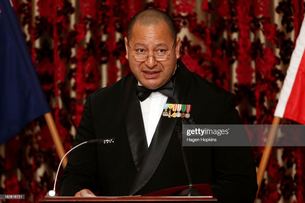King Tupou VI makes a speech during a State Dinner at Government House on February 25, 2013 in Wellington, New Zealand. The King of Tonga, His Majesty King Tupou VI, is in New Zealand making his first official state visit.