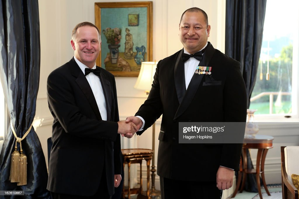 King Tupou VI meets Prime Minister John Key prior to a State Dinner at Government House on February 25, 2013 in Wellington, New Zealand. The King of Tonga, His Majesty King Tupou VI, is in New Zealand making his first official state visit.