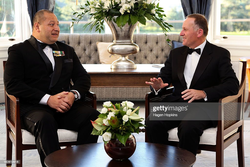 King Tupou VI meets Prime Minister <a gi-track='captionPersonalityLinkClicked' href=/galleries/search?phrase=John+Key&family=editorial&specificpeople=2246670 ng-click='$event.stopPropagation()'>John Key</a> prior to a State Dinner at Government House on February 25, 2013 in Wellington, New Zealand. The King of Tonga, His Majesty King Tupou VI, is in New Zealand making his first official state visit.