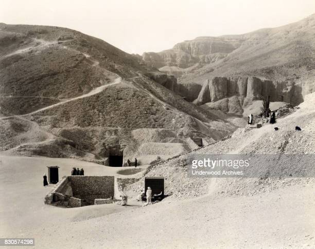 King Tut's Tomb in the Valley of the Kings where twenty dynasties are buried Egypt circa 1925