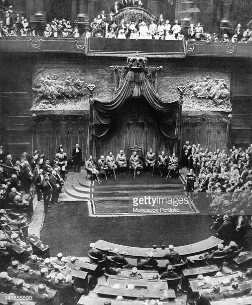 King Victor Emmanuel III Queen Elena and Prince Umberto attending the inauguration of the new Parliament at Montecitorio Rome 24th May 1924