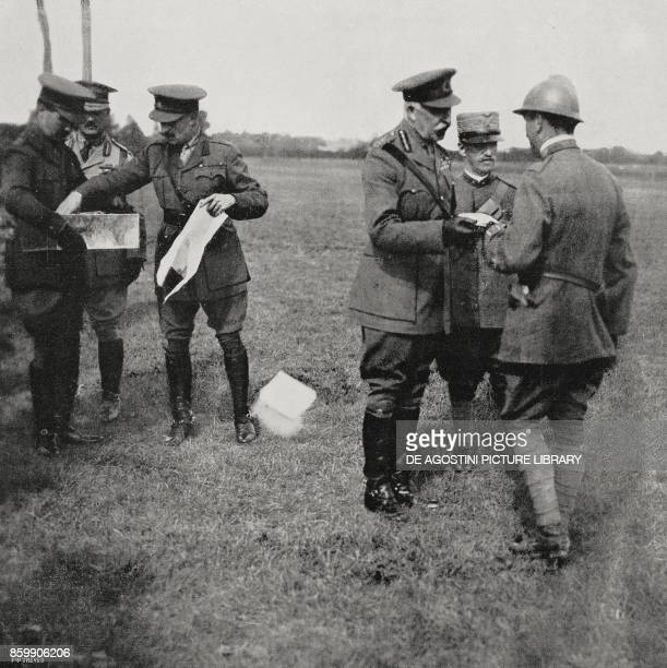 King Vittorio Emanuele III and the Duke of Connaught presenting an award to an Italian soldier Italy World War I from L'Illustrazione Italiana Year...