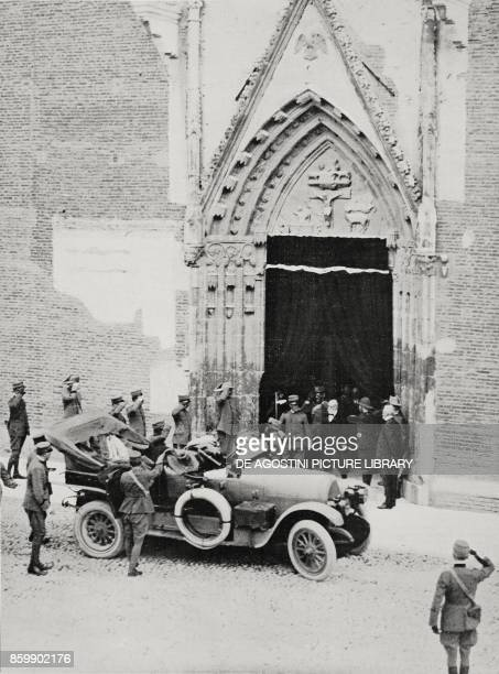 King Vittorio Emanuele III Prime Minister Paolo Boselli and General Carlo Porro leaving a commemorative function in honor of King Umberto celebrated...