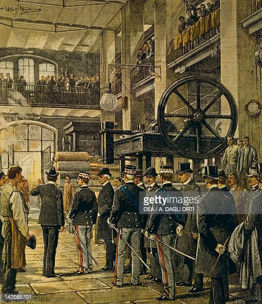 King Vittorio Emanuele III visiting factories in Milan Illustrator Achille Beltrame from La Domenica del Corriere 8th October 1905