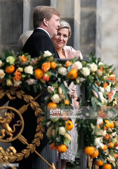King Willem Alexander and Queen Maxima of the Netherlands appear on the balcony of the Royal Palace to greet the public after the abdication of Queen...