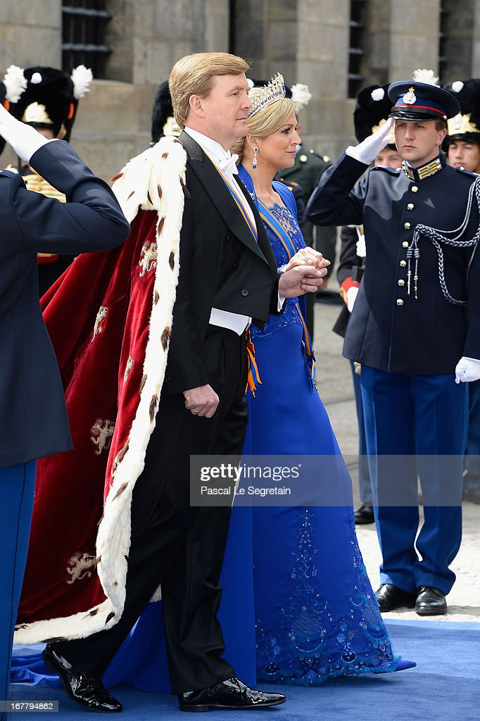 HM King Willem Alexander of the Netherlands and HM Queen Maxima of the Netherlands arrive to Nieuwe Kerk church ahead of his inauguration ceremony on April 30, 2013 in Amsterdam, Netherlands.