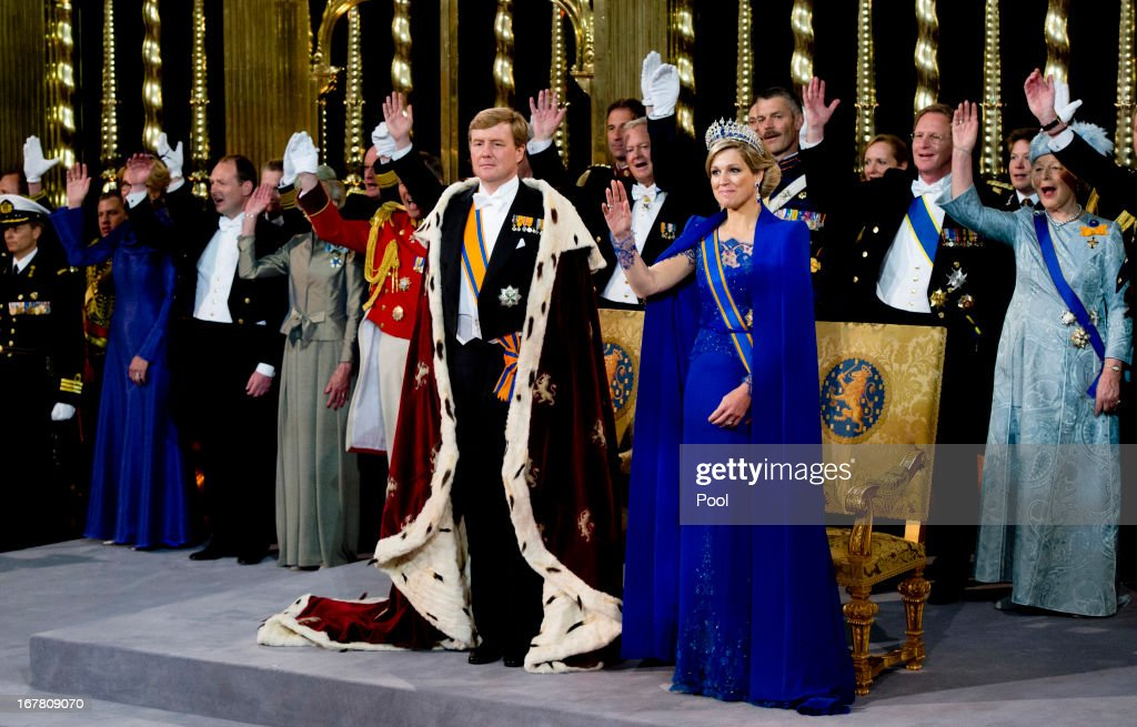 HM King Willem Alexander of the Netherlands and HM Queen Maxima of the Netherlands during their inauguration ceremony at New Church on April 30, 2013 in Amsterdam, Netherlands.