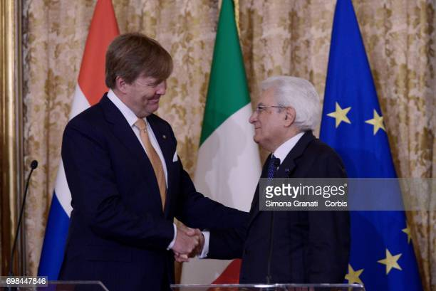 King Willem Alexander of the Netherlands and President of the Republic Sergio Mattarella at the Quirinaleon June 20 2017 in Rome Italy