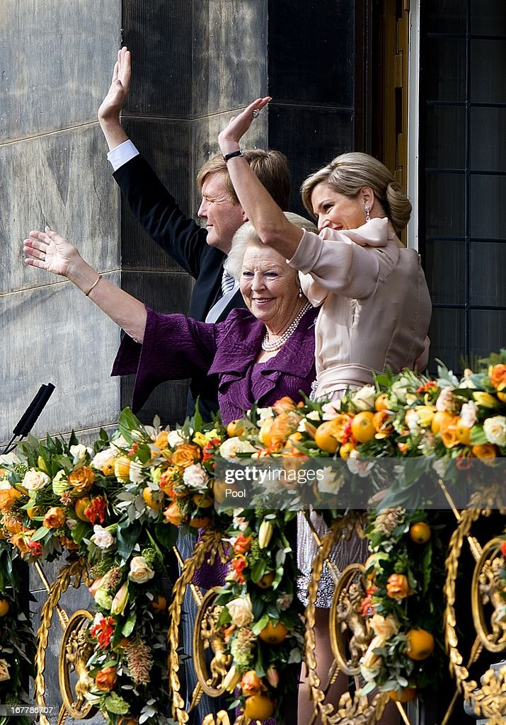 King Willem Alexander of the Netherlands, Queen Maxima of the Netherlands and their daughters Crown-Princess Catharina Amalia of the Netherlands, Princess Alexia of the Netherlands and Princess Ariane of the Netherlands appear on the balcony of the Royal Palace to greet the public after the abdication of Queen Beatrix of The Netherlands and ahead of the Inauguration of King Willem Alexander of The Netherlands on April 30, 2013 in Amsterdam, Netherlands.