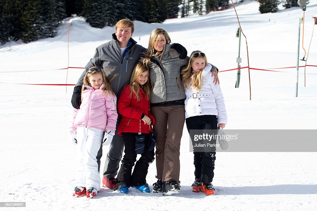 King Willem Alexander of The Netherlands, Queen Maxima of The Netherlands, Princess Ariane, Princess Alexia and Crown Princess Catharina Amalia attend a Photo Session, during their annual winter ski holiday, on February 23, 2015 in Lech, Austria.