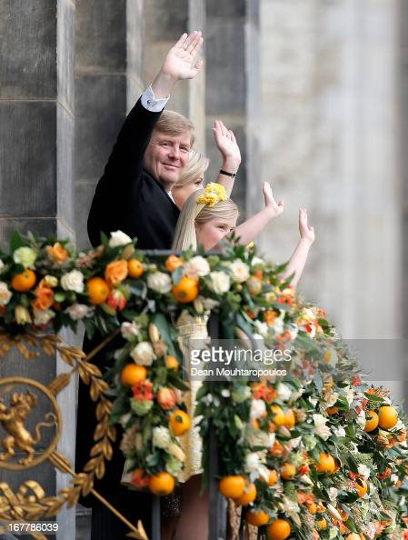 King Willem Alexander Queen Maxima and their daughters Princess Catharina Amalia Princess Ariane and Princess Alexia of the Netherlands appear on the...
